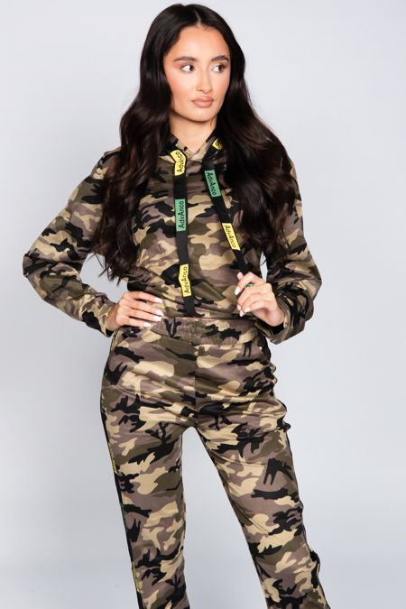Camo Printed Tape Stripe Hooded Tracksuit