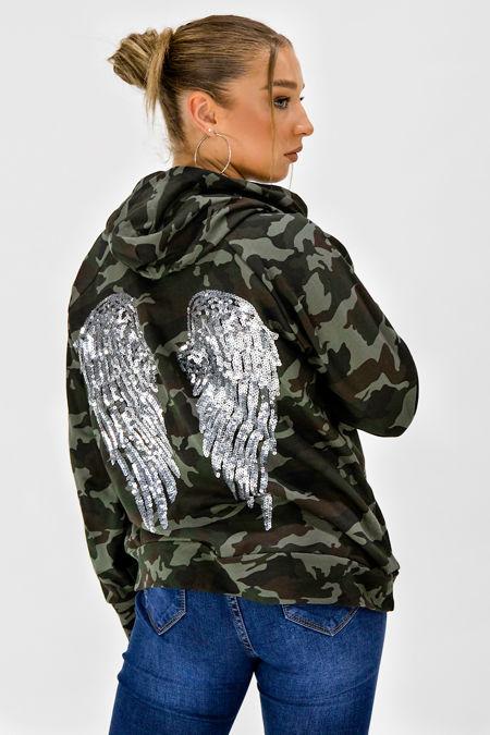 Camo Sequin Angel Wings Oversized Hoodie