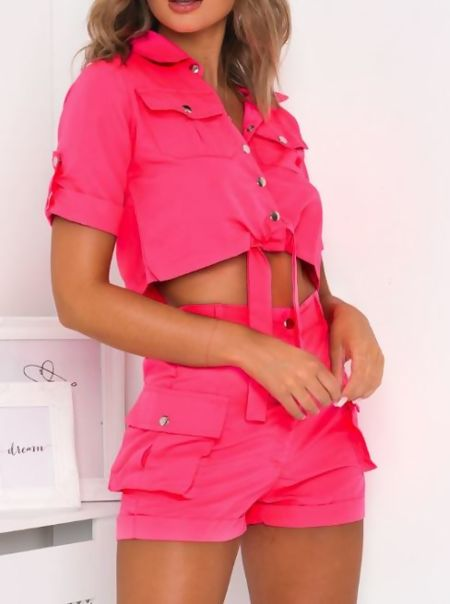 Neon Pink Cargo Shorts and Shirt Set