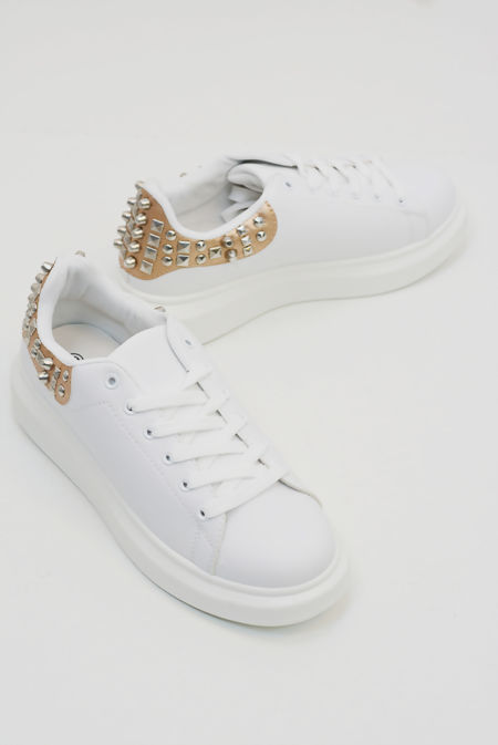 Champagne Studded Back White Trainers