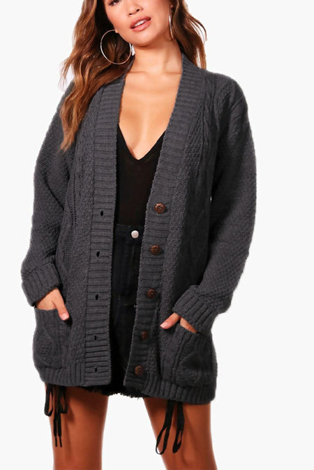 Charcoal Cable Knit Boyfriend Cardigan