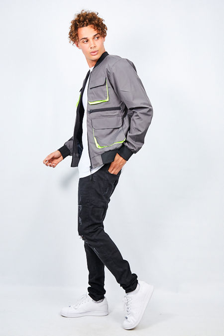 Charcoal Neon Utility Pocket Detailed Bomber Jacket