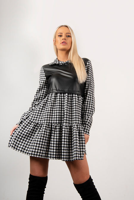Black Check Faux Leather Overlay Smock Dress