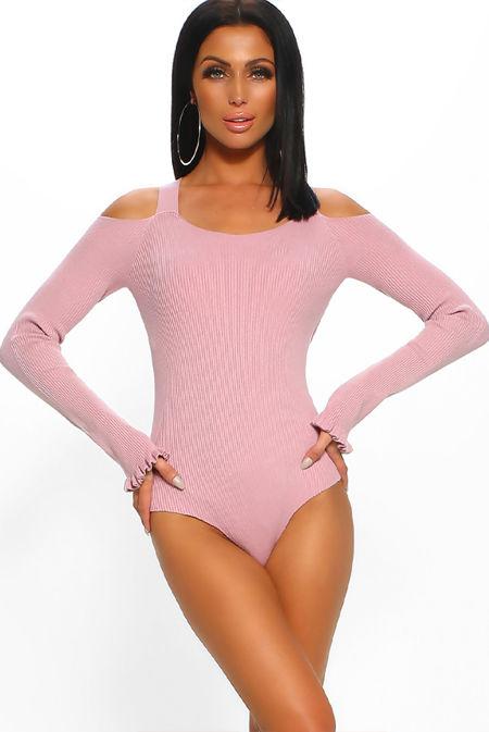Cold Shoulder Ribbed Bodysuit
