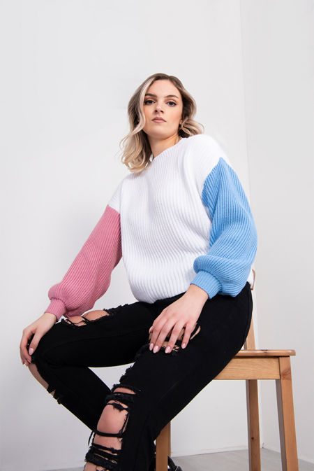 White Colour Block Knitted Jumper