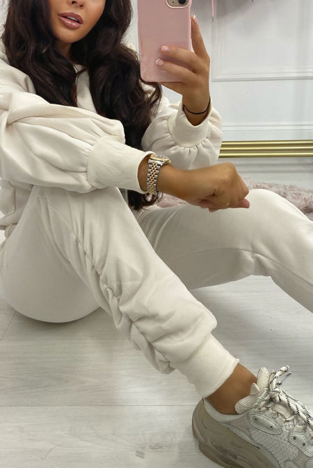 Cream Fleece Lined Ruched Ankle Joggers