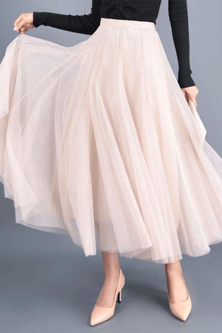 Cream Tulle Pleated Mesh Skirt