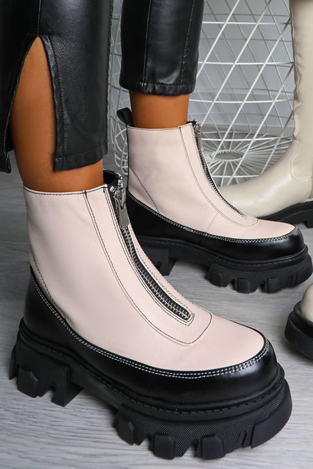 Cream Zip Front Chunky Sole Boots