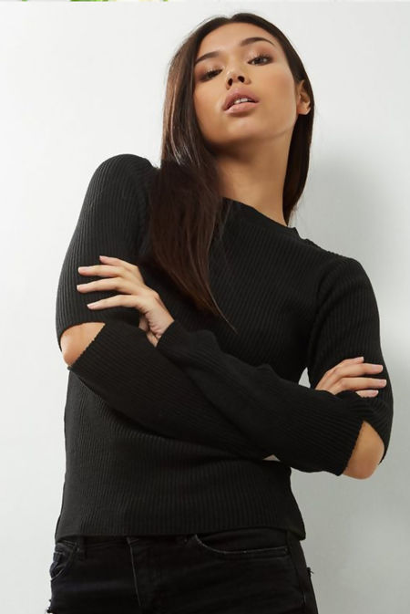Cut Out Sleeve Ribbed Jumper