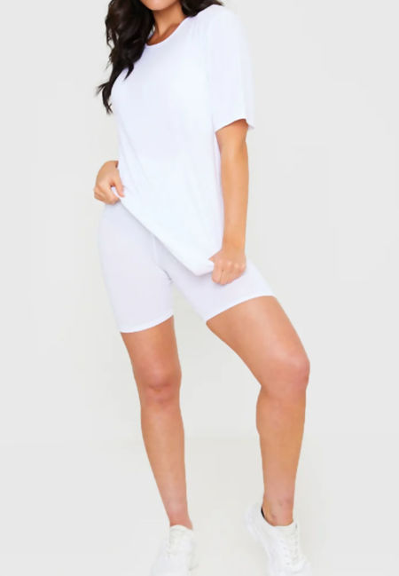 White Long T-shirt and Cycling Shorts Set