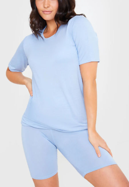 Sky Blue Oversized T-shirt and Cycling Shorts Set