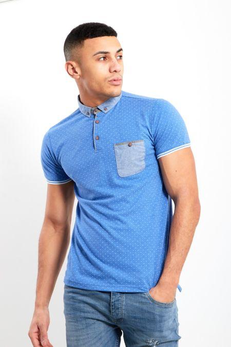 Blue Polka Dot Short Sleeve Polo Shirt