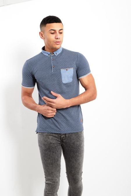 Denim Polka Dot Short Sleeve Polo Shirt