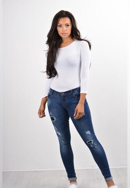 Dark Denim Distressed Skinny Fit Jeans