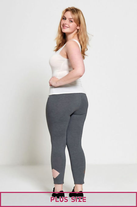 Dark Grey Plus Size Laser Cut Leggings