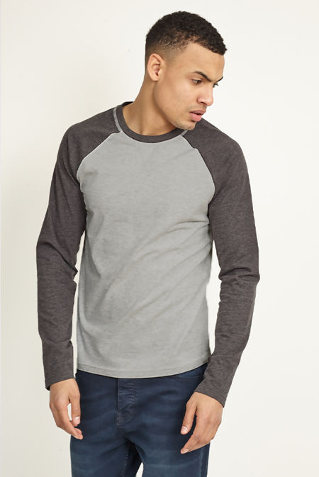Dark Grey Two-Tone Raglan Long Sleeve T-Shirt