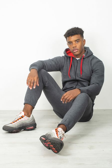 Dark Grey With Red Contrast Tracksuit