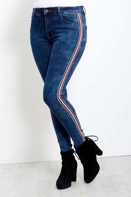 Dark Wash Side Stripe Skinny Fit Jeans