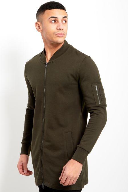 Khaki Zip Detail Longline Cardigan