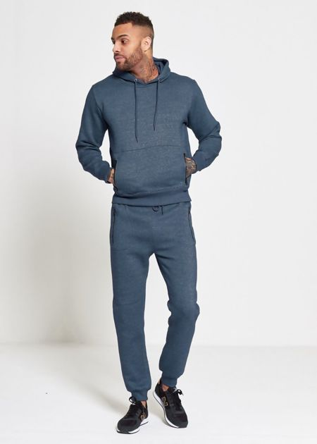 Denim Blue Skinny Fit Pullover Tracksuit