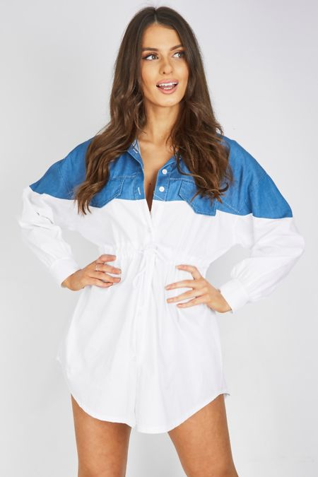 Denim Contrasted Slouchy Shirt Dress