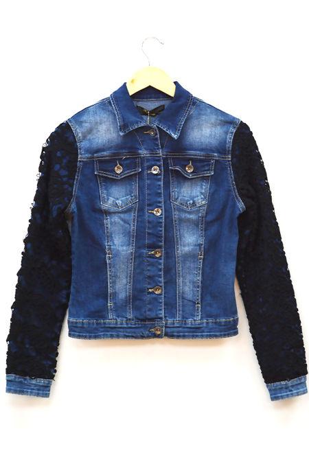Denim Crochet Mesh Sleeve Jacket