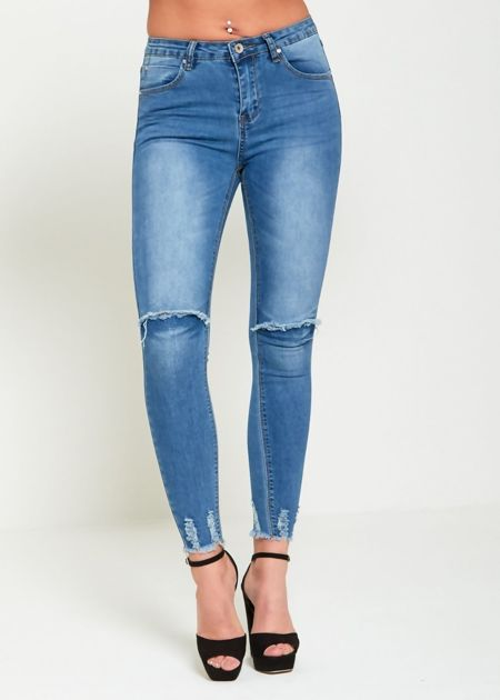 Denim Distressed Hem Skinny Jeans