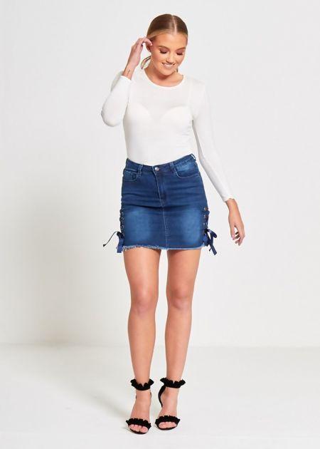 Denim Eyelet Ribbon Petite Hem Mini Skirt