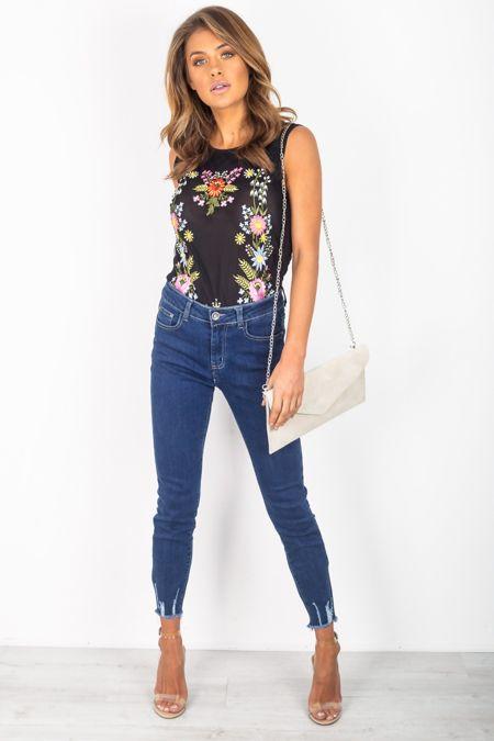 Denim Hem Skinny Jeans