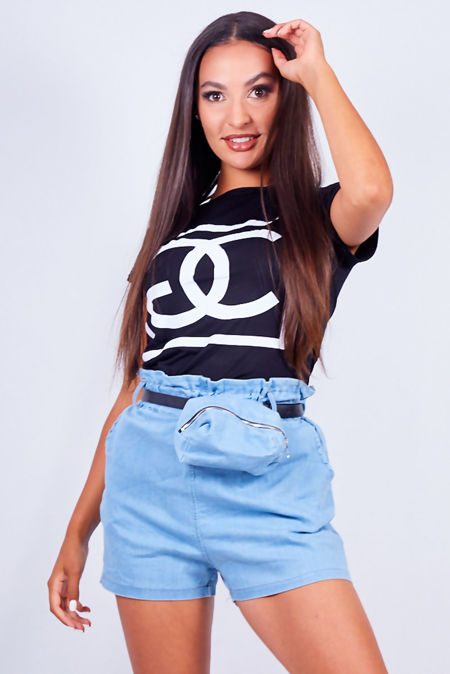 Denim Paperbag Waist Shorts With Belted Bag