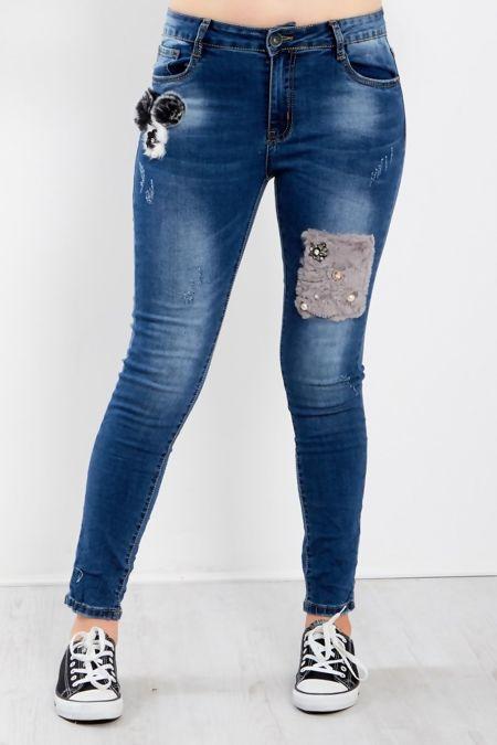 Denim Rhinestone Fur Patch Jeans