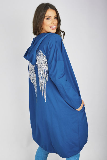 Denim Sequin Angel Wing Hooded Cardigan