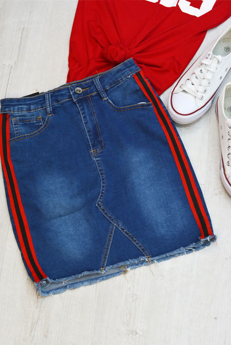 Denim With Red Stripes Frayed Hem Skirt