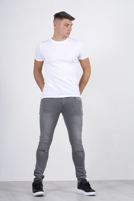 Grey Knee Ripped Skinny Fit Jeans