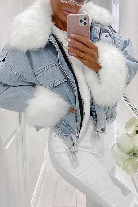 Detachable Faux Fur Denim Jacket