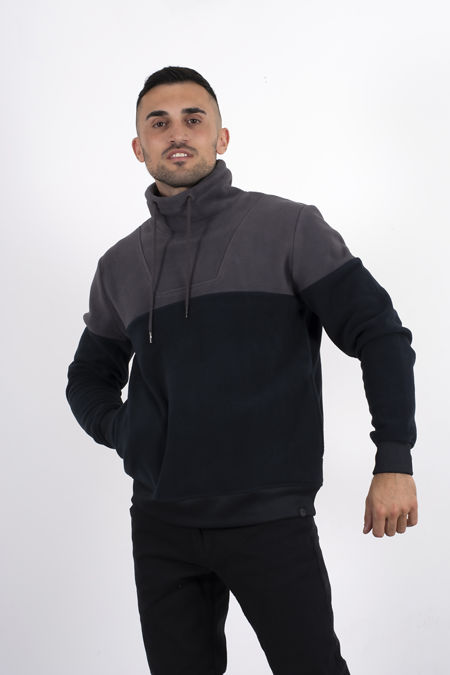 Charcoal Two Tone Funnel Neck Fleece Sweatshirt