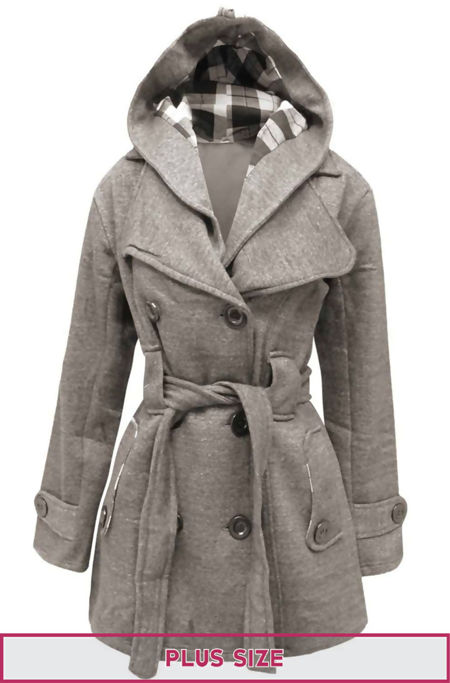 Double Plus Size Grey Double Breast Coat