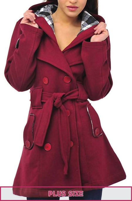 Double Plus Size Wine Double Breast Coat
