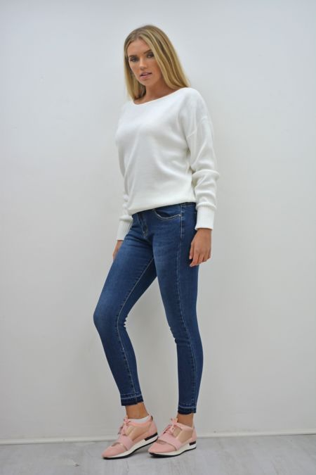 Dark Denim Let Hem Skinny Jeans