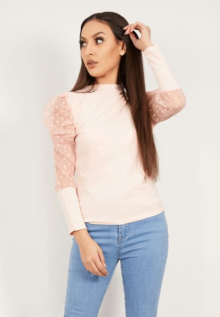 Dusty Dobby Puffed Sleeve Top