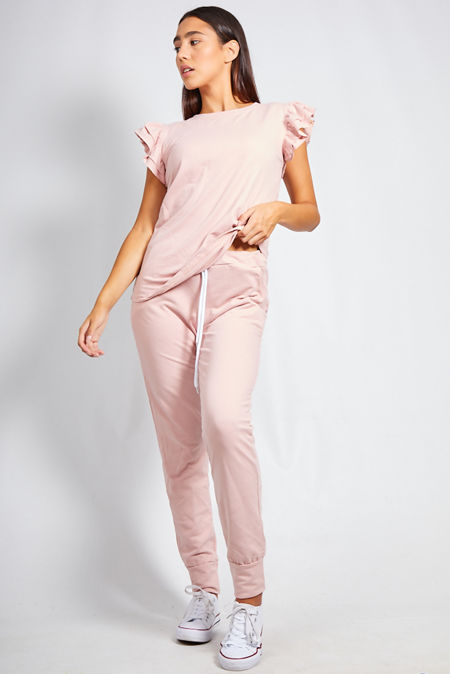Dusty Frill Sleeve Top and Trouser Lounge Set