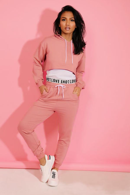 Dusty Love Top Crop Hoodie And Jogger 3 Piece Set