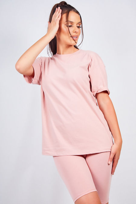 Dusty Oversized T-shirt and Cycling Shorts Set