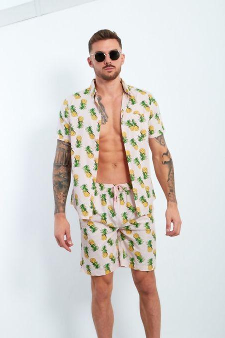 Dusty Pineapple Print T-Shirt and Short Set