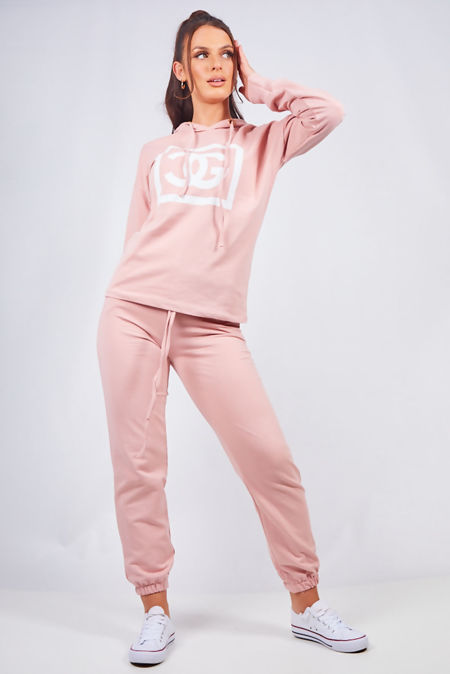 Dusty Pink Hooded Lounge Wear Set