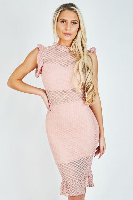 Dusty Pink Mesh Dotted Midi Dress