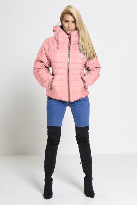Dusty Pink Quilted Padded Puffer Bubble Fur Collar Jacket