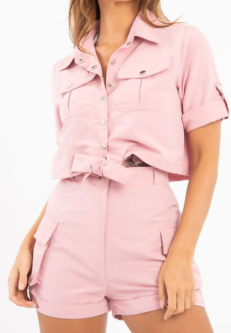 Dusty Utility Pockets Crop Shirt and Short Co-ord Set