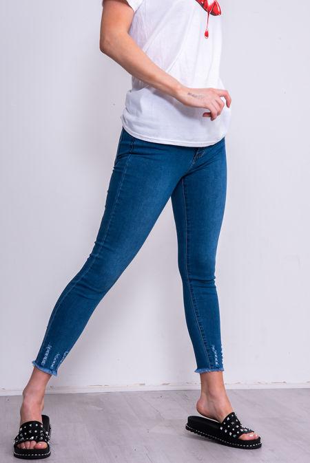 Dark Blue Faded Distressed Jeans