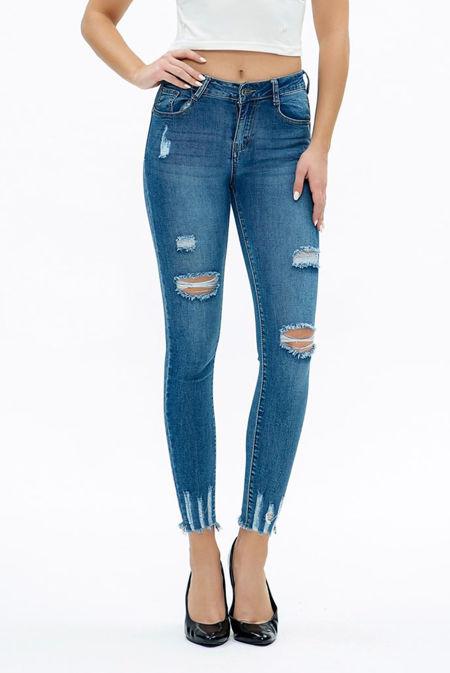 Dark Denim Skinny Fit Distressed Jeans